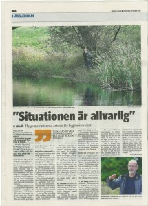 Artikel i Norra Skåne 131004